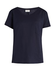 Saint Laurent Patch Pocket Cotton T Shirt Navy