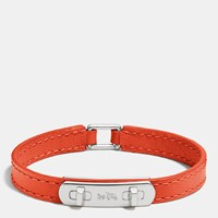 Coach Leather Swagger Bracelet Silver Orange