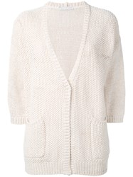 Fabiana Filippi Knitted Cardigan Women Cotton 44 Nude Neutrals