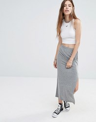 Noisy May Ankle Length Skirt With Side Zip Medium Grey Melange
