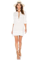 Candc California Ynez Lace Up Dress White