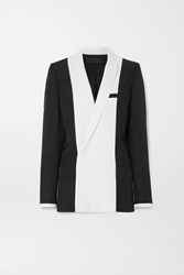 Haider Ackermann Double Breasted Two Tone Twill Blazer Black
