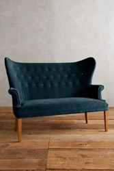 Anthropologie Velvet Wingback Bench Marine