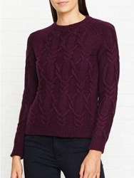 Barbour Snofall Cable Knit Crew Neck Jumper Burgundy