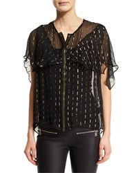 Zadig And Voltaire Tonia Metallic Trim Sheer Chiffon Blouse Black Noir