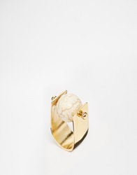 Monki Gold Ring With Marble Ball