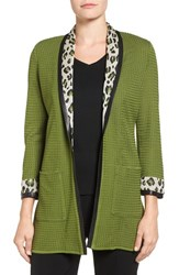 Ming Wang Women's Leopard Shawl Collar Knit Jacket