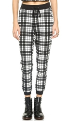 Re Named Quilted Plaid Jogger Pants Off White Black