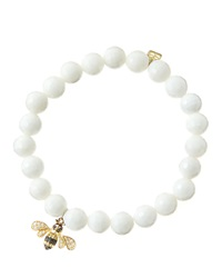 Sydney Evan 8Mm Faceted White Agate Beaded Bracelet With 14K Gold Diamond Bee Charm Made To Order