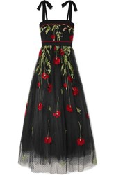 Elie Saab Embroidered Swiss Dot Tulle Gown Black