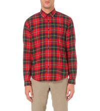 Barbour Sea Mill Tartan Cotton Flannel Shirt Red