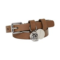 Alexander Mcqueen Brown And Silver Double Wrap Skull Bracelet