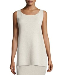 Eileen Fisher Washable Wool Crepe Long Tank Sea Salt Natural