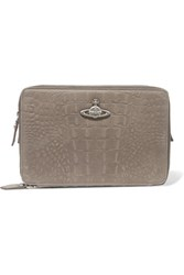 Vivienne Westwood Anglomania Croc Effect Leather Cosmetics Case Gray