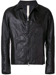 A Diciannoveventitre Classic Leather Jacket Black