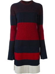 Cedric Charlier Striped Knitted Dress Red