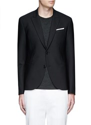 Neil Barrett Peak Lapel Stretch Gabardine Skinny Fit Blazer Blue