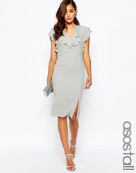 Asos Tall Ruffle Front Pencil Dress Grey Beige