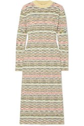 Missoni Striped Ribbed Wool Midi Dress Green