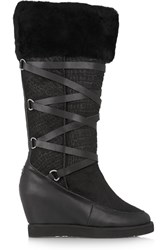 Australia Luxe Collective Moscow Croc Effect Shearling Wedge Boots Black