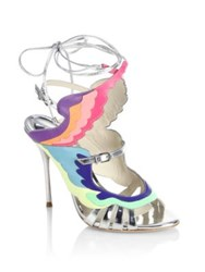 Sophia Webster Firebird Multicolor And Metallic Leather Ankle Wrap Sandals Silver Metallic