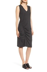 Kenneth Cole New York Ruched Jersey Sheath Dress Charcoal Grey