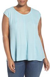 Sejour Plus Size Women's Cap Sleeve Crepe Swing Top Blue Glaze