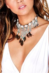 Boohoo Shell And Feather Tassel Choker Silver