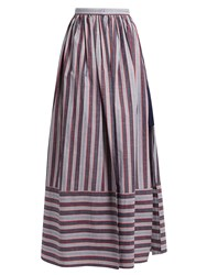 Palmer Harding Double Layer Striped Cotton Poplin Skirt Blue Multi