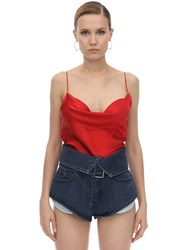 Marques Almeida Draped Silk Satin Slip Top Red