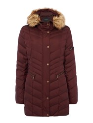 Andrew Marc New York Padded Coat With Faux Fur Hood Dark Red