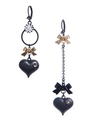 Betsey Johnson Heart Bow Mismatch Earrings Black Gold