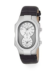 Philip Stein Teslar Signature Dual Time Stainless Steel And Alligator Embossed Leather Strap Watch