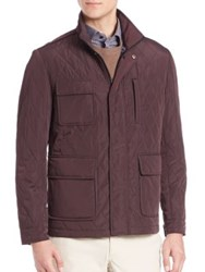 Saks Fifth Avenue Stand Collar Quilted Jacket Berry