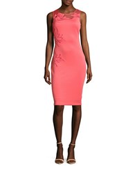Guess Embroidered Leaf Sheath Dress Coral
