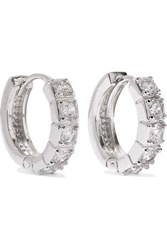 Kenneth Jay Lane Silver Plated Cubic Zirconia Hoop Earrings One Size