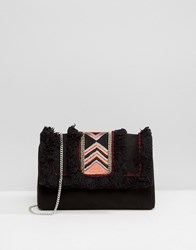 Park Lane Embroidered Clutch Bag With Suede Upper Panel Black Pink
