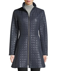 Kate Spade Bow Quilted Fit And Flare Puffer Coat Navy