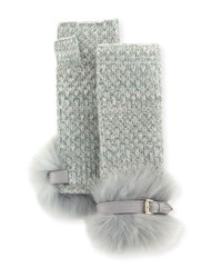 Portolano Cashmere Fingerless Gloves W Fur And Buckle Cuffs Light Blue