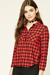 Forever 21 Buffalo Plaid Button Up Shirt Red Black