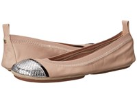 Yosi Samra Sybil Soft Leather Fold Up Flat With Scaled Specchio Captoe Fawn Silver Women's Flat Shoes Yellow