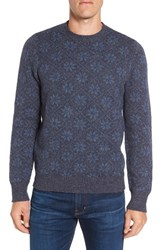 Grayers Men's Snowflake Wool And Cotton Crewneck Sweater