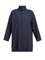Eskandar Band Collar Cotton Poplin Shirt Navy