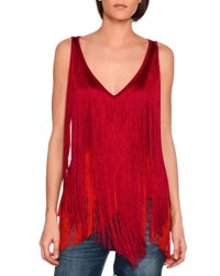 Stella Mccartney Mabel Sleeveless Fringed Top Bright Pink