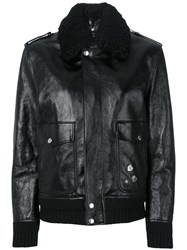 Saint Laurent Shearling Trim Flight Jacket Cotton Calf Leather Sheep Skin Shearling Cupro Black