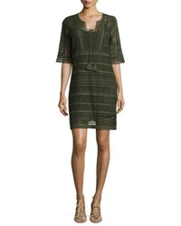 Figue Crocheted Lace Half Sleeve Dress Dark Green
