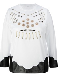 Toga Pulla Embroidered Eyelet Blouse White