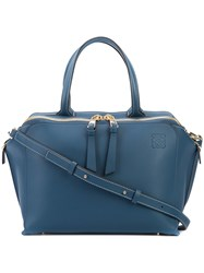 Loewe Double Straps Zipped Tote Women Calf Leather One Size Blue