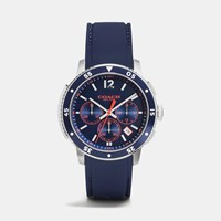 Coach Bleecker Sport Stainless Steel Chrono Rubber Strap Watch Navy