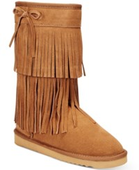American Rag Senecah Cold Weather Fringe Boots Only At Macy's Women's Shoes Chestnut